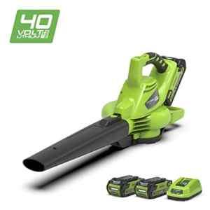 Greenworks Souffleur/Aspirateur à feuilles sans fil sur batterie 40V Lithium-ion avec 2 batteries 2Ah et chargeur – 24227UC