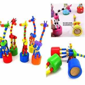 Happy Event Kids Intelligence Toy Dancing Stand Balançoire en Bois Motif Girafe