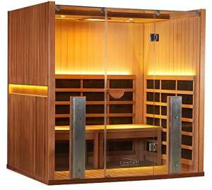 Infrared Sauna – Hot Yoga Sauna for Home Practice – World's first Sauna for Yoga – Clearlight Far Infrared Sauna for Home – 3-4 Person Sauna – Heated Detox Therapy – Full Spectrum Light – Low EMF – Lifetime Guarantee