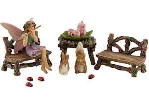 Kit de décoration d'extérieur et accessoires – miniature Fée Figurines Bella et ses amis (lot de 14) – par Pretmanns