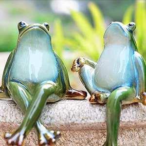 Lazy Puppy Garden Sculptures et Statues en céramique Couple Grenouille Décoration de jardin