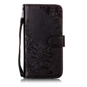 Coque pour Xiaomi Mi 6 BONROY Etui en Cuir Housse à Clapet – Flip Portefeuille de Carte Slots Magnétique Emplacements de Cartes, Fonction Support pour Xiaomi Mi 6 – [Fleur Relief Motif Stylé] – (YH-Dentelle Fleur Noir)