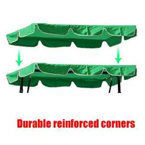 dDanke résistant aux UV imperméable Housse de Chaise Hamac Auvent de Rechange de Jardin 195* 125cm pour Patio extérieur 3Places Balancelle Green