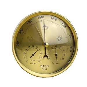 OUNONA Precision Anéroïde 3en 1Station Météo Baromètre Thermomètre hygromètre pour intérieur et extérieur avec Structure en Acier Inoxydable (Jaune)