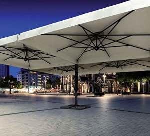 Parasol – Alu Poker Scolaro Carré 6x6m Acrylique Dralon 350g/m2 Noir S1 Sans volants + Pied pour fixation au sol
