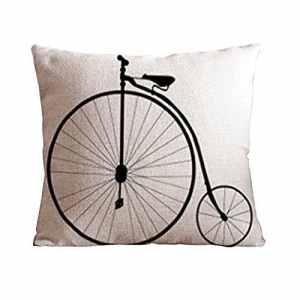 Xinguan Onehouse Vieux Vélo Coton Lin carré décoratif Taie d'oreiller