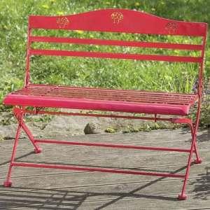 Banc de jardin Willy en rouge avec théme de champignons fer H60 cm