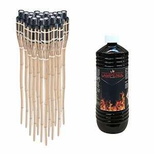 ectxo 18 x Torche en bambou torche de jardin bambou Torches de jardin flambeaux 90 cm avec 1 L Huile hochgereinigt geruchsloses