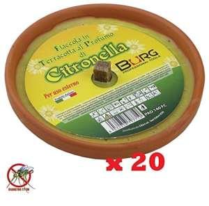Lot de 20 bougies anti-moustiques parfum citronnelle en terre cuite – Diamètre : 17 cm