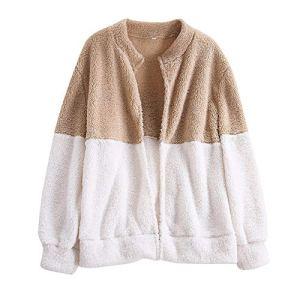 Mode Femme Peluche Manteau Veste d'hiver Cardigan Man-teau Pull survêtement (L, Beige)