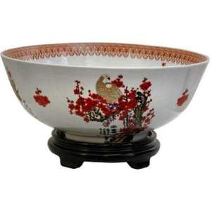 ORIENTAL FURNITURE 14″ Cherry Blossom Bol en porcelaine noir