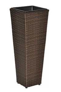 Pot de fleur / Planteur / bac pour plantes avec inserts amovibles – optique rotin – résistant aux intempéries – pour l'intérieur et l'extérieur – marron – 80 cm
