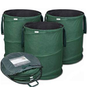 Sacs de déchets de jardin Pop-Up 3 x 170 litres – Sac de jardin auto-dressant en polyester Oxford 600D extrêmement robuste – Ensemble de sacs déco Premium autoportant, stable et pliable par GloryTec