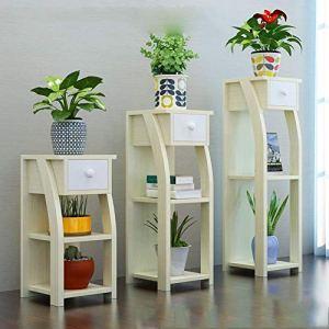 Support de stockage en bois de support de stockage de morceau de 3 morceaux, pour la décoration d'intérieur (Couleur : Light walnut color)