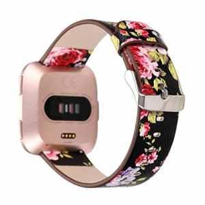 Upxiang Motif Cuir Band pour Fitbit Versa, Mode Montre Bracelet de Rechange pour Fitbit Versa 230 mm Noir