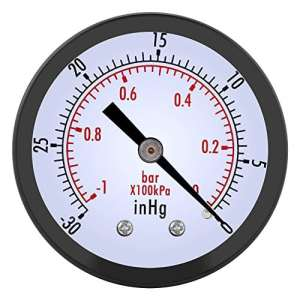 0~-30inHg 0~-1bar Manomètre à vide 50mm Dia, Manomètre de pression pour Huile Gaz Air Eau, Manomètre de haute précision