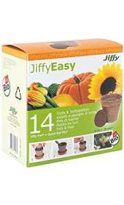 14 Pots Végétaux (Semis, Plantation) et Disques de Tourbe Deshydratée – 100p100 Bio JiffyEasy