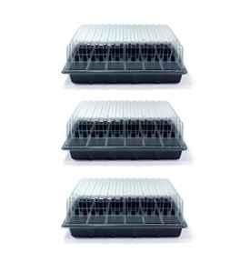 Ensemble économique de 3 propagateurs standards de Britten & James®. Contient trois plateaux de graines, trois inserts de 24 cellules et trois couvercles transparents. Maintenant disponible directement chez Britten & James®