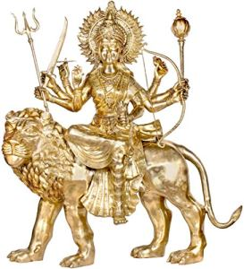 Exotic India Large Size Sheran Wali MATA Seated on Her Vahana – Brass Statue