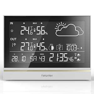 Fetanten Station Meteo Interieur Exterieur, WS004E Thermomètre Intérieur/Extérieur avec 7.5» LCD écran/DCF Signal/DST (WS004E Station Météo)