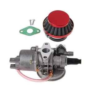 FXCO Carburateur Carb Carby + Filtre à air rouge + pile pour 2 pièces moteur 47cc 49cc Mini Moto