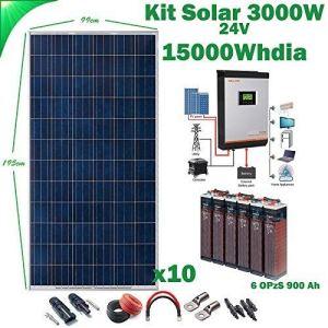 Kit Solaire 24v 3000w/15000w jour Convertisseur Multifonction 5kva Régulateur MPPT 80A Batterie 6OPzS 900Ah