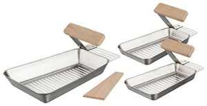 Lot de 3 poêles de barbecue, 1 grande grande + 2 petits avec poignée pratique pour le démontage en acier inoxydable – Avec spatule universelle pour légumes et poissons.