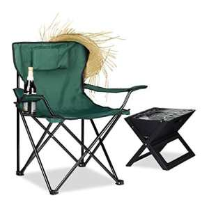 Relaxdays 10020933_53 Chaise de Camping Mixte Adulte, Vert