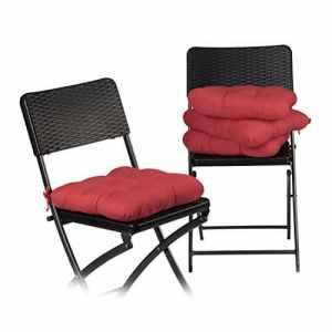 Relaxdays Coussin de chaise lot de 4 lavable 10 cm épaisseur doux moelleux pour siège de jardin à nouer 40 x 40 cm polyester, rouge