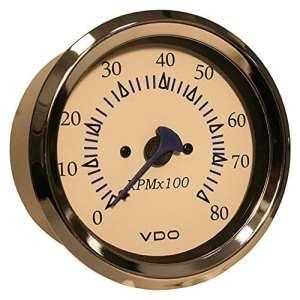 VDO Allentare White 8000RPM 3-3/8″ (85mm) Outboard Tachometer – 12V