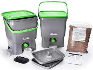 Bokashi Organico Eco Poubelle Set de déchets organiques avec Bran activateur – Grand, 2 x 16 litres Composteurs pour déchets de cuisine – Sans odeur