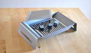 Caliu 165.003–Assiette de Maintien avec Braise L, 35.8x 12x 7,8cm, Couleur INOX
