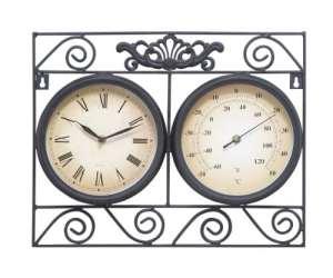Deco 79Set Coutellerie Horloge d'extérieur en métal, thermomètre, 17par 35,6cm