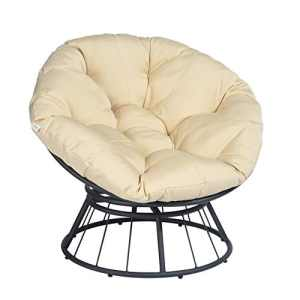 Deluxe 360 Pivotant Papasan Chaise avec coussin moelleux, Outdoor Pivotant Glider Glider Lounge Chair, Deep Seating Moon Chair, Solide Tissu Kaki Coussin