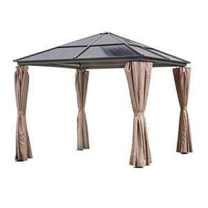 greemotion Tonnelle à toit rigide Hardtop – Barnum professionnel 3×3 m – Pavillon de jardin taupe et gris anthracite – Barnum étanche et robuste – Tonnelle toit dur imperméable et résistante