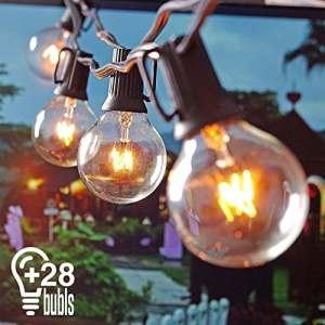 Guirlande Guinguette Extérieur, Heofean Guirlande Lumineuse Exterieur, pour l'intérieur et décoration extérieure, mariage Lumière, 7.62mètres Câble, 25 G40 Ampoule et 3 de Rechange Lumière Blanc Chaud