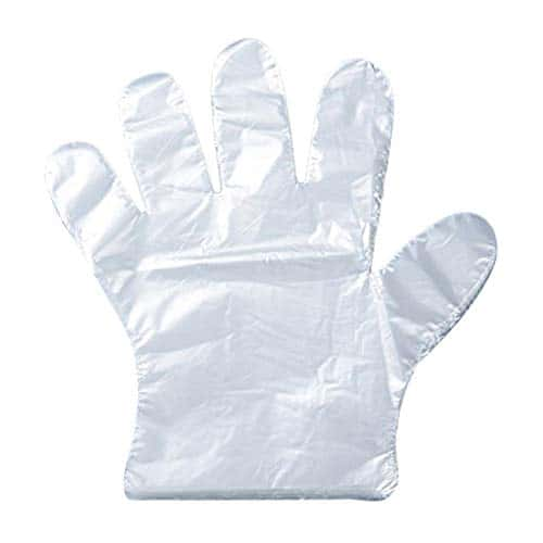 Leisial 500gants plastique jetables pour Traiteur, bricolage, nettoyage, teinture capillaire, gants en polyethylène, claire, CL
