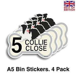 Lot de 4stickers en vinyle personnalisés avec numéro de maison et nom de rue pour poubelle à roulettes, motif colley, format A5