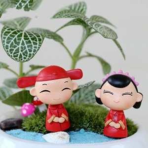 Yter miniature Fée Décorations de jardin chinois marié et mariée Figurines (Rouge)