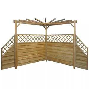Zora Walter Pergola de Jardin avec 4Panneaux de clôture côté 256x 256x 225cm imprégné Pinewood