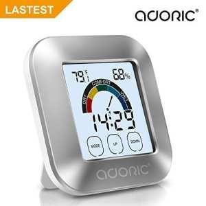 ADORIC Thermo-Hygromètre Electronique Intérieur – Thermomètre Hygromètre Numérique avec LED Rétro-éclairage Mémoire Max/Min Température Humidité, Deux Piles Inclus, Station Métro