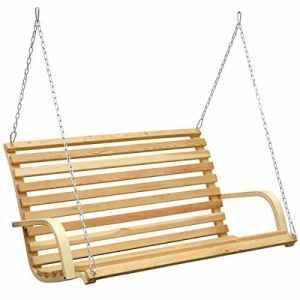 AMANKA Balancelle de jardin en bois pour 3 personnes avec accoudoirs Beige