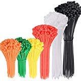 AUSTOR 600 Pièces Colliers Nylon Serflex Plastique Collier Autobloquant Serre-Câbles de 4″/ 6″/ 8″/ 10″ en Orange, Jaune, Vert, Rouge, Blanc und Noir