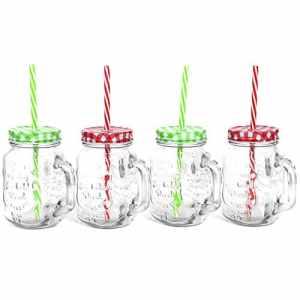 COM-FOUR® 4x verre avec paille à boire et couvercle, pot mason (Mélange 4er)