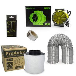 Kit extracteur 280m3/h + filtre à charbon Proactiv 125mm