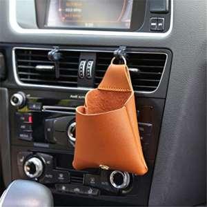 Lnlyin véhicule Support pour téléphone Portable Car Air Outlet Pocket Auto Organiseur de Rangement Accessoires Auto, Cuir, Marron, Taille Unique