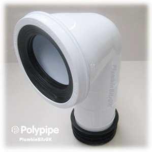 Polypipe Kwickfit 10,2cm 110mm à 90degrés Bent WC Pan connecteur Blanc Sk42