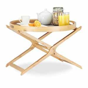 Relaxdays Table d'appoint pliante ronde bambou avec plateau service amovible bois pliable HxlxP: 45x60x60cm, nature/gris