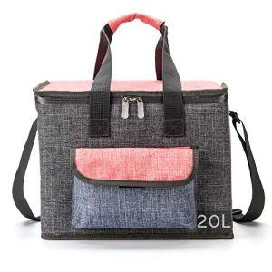 Sacs isothermes grande capacite 20L, portable sac isotherme repas femme /homme, pour barbecue pique-nique camping plage… (Gray-20L)