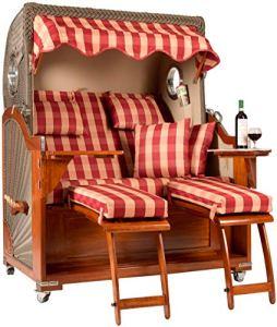 Strandfeeling Fauteuil-Cabine de Plage en Acajou Rouge avec hublot et système de lèvres/vérin à gaz pour Le Jardin ou la terrasse